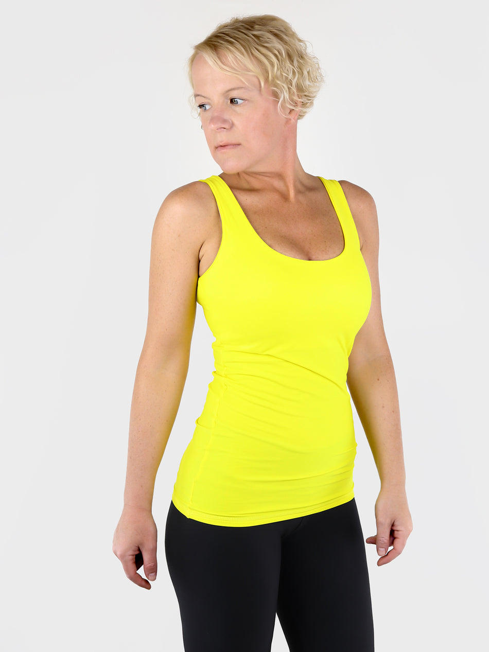 Yellow Basic Double Layer Tank Top with Wide Straps for Every Day Wear - 4