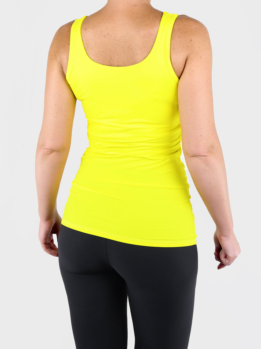 Yellow Basic Double Layer Tank Top with Wide Straps for Every Day Wear - 5