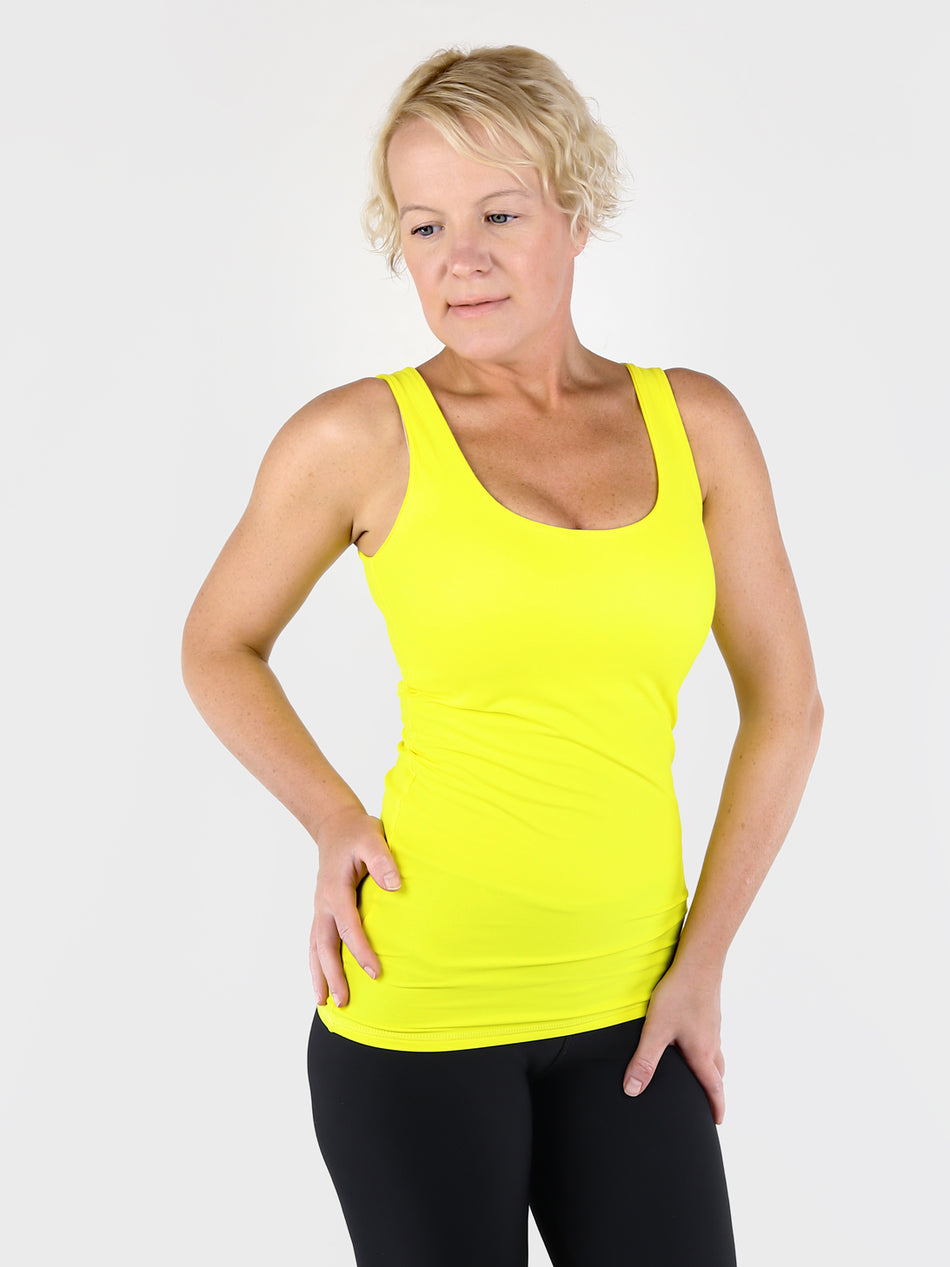 Yellow Basic Double Layer Tank Top with Wide Straps for Every Day Wear - 6