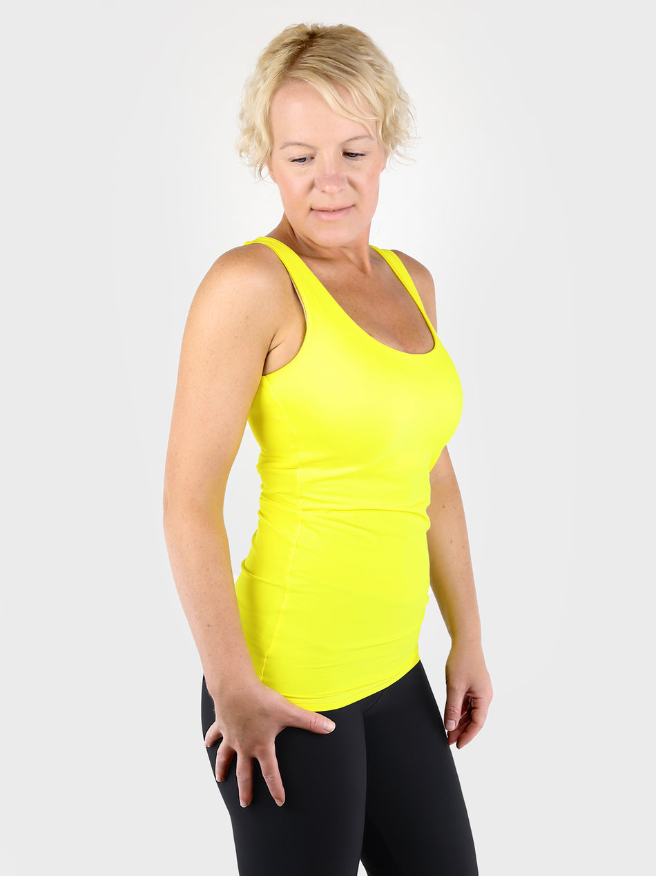 Yellow Basic Double Layer Tank Top with Wide Straps for Every Day Wear - 7