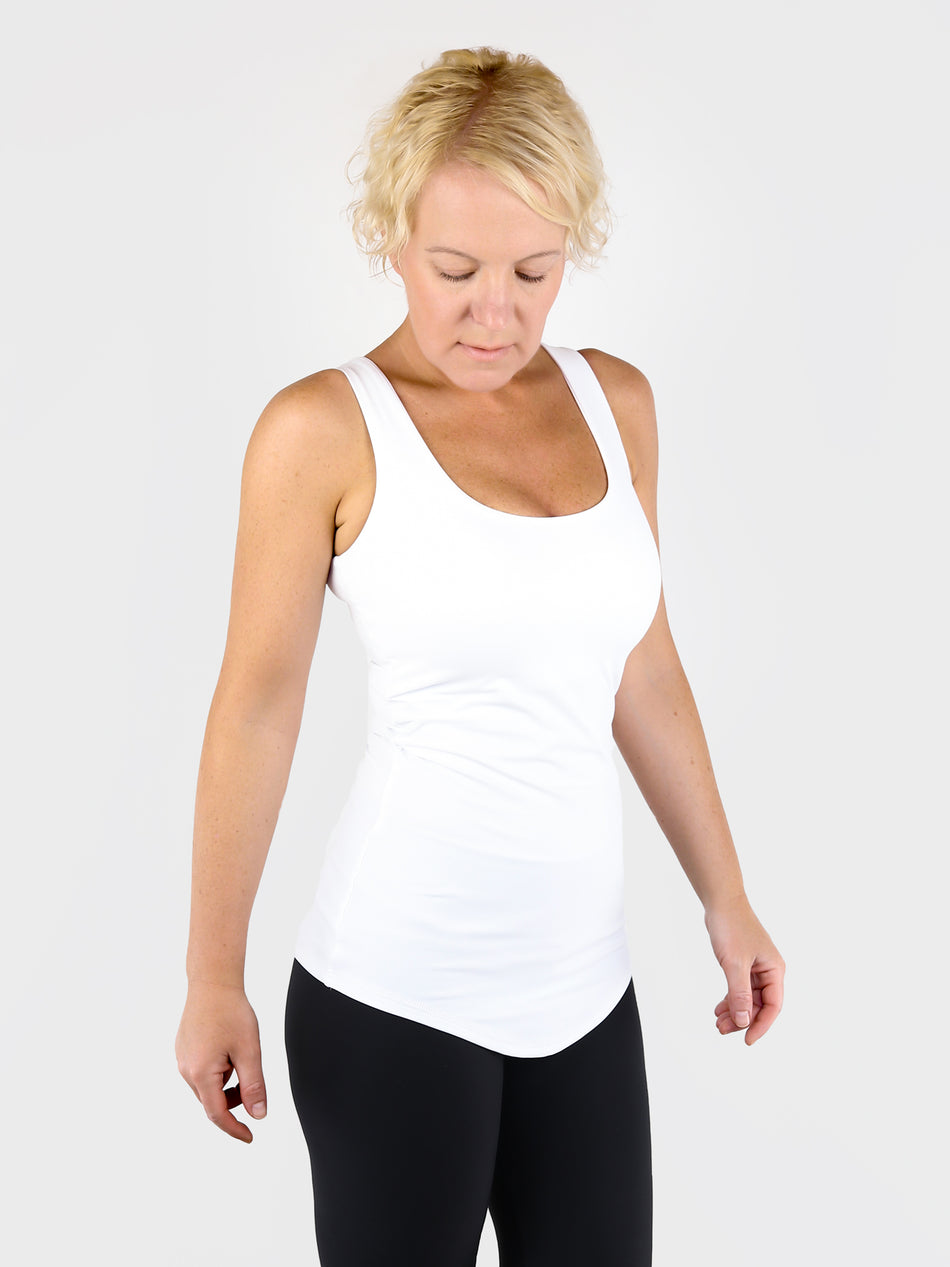 Essential Premium Slim Fit Women's Wide Arms White Tank Top - 6