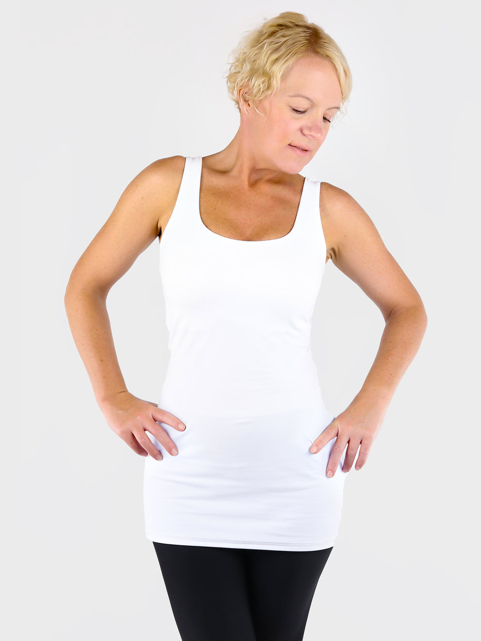 Seamless Wide Arms White Extra Long Tank Top Essential for Summer - 1