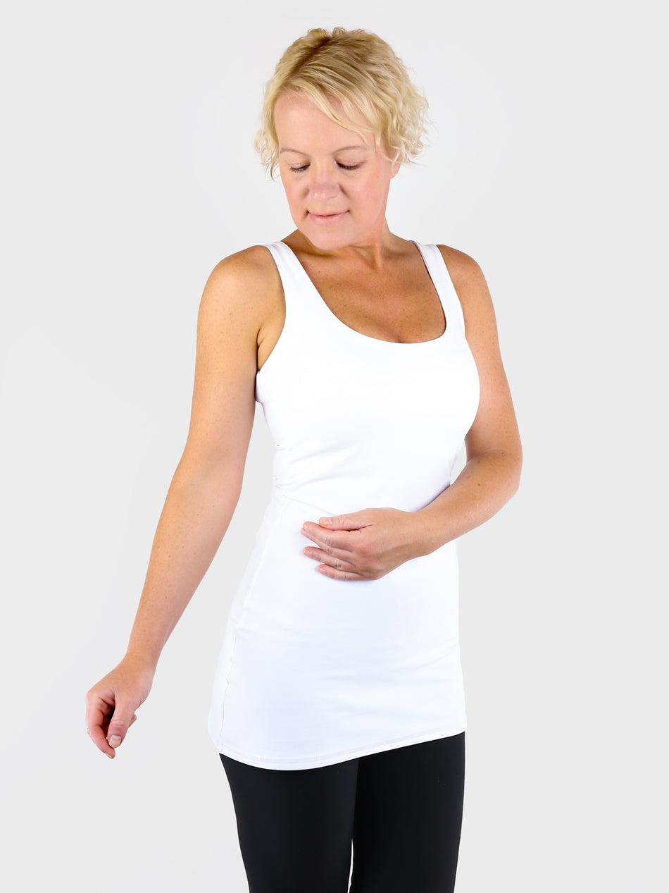 Seamless Wide Arms White Extra Long Tank Top Essential for Summer - 3