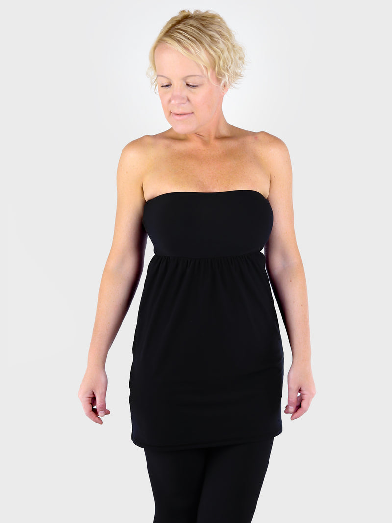 Strapless Sexy Black Bandeau Tunic Top with Empire Waist for Leggings - 1