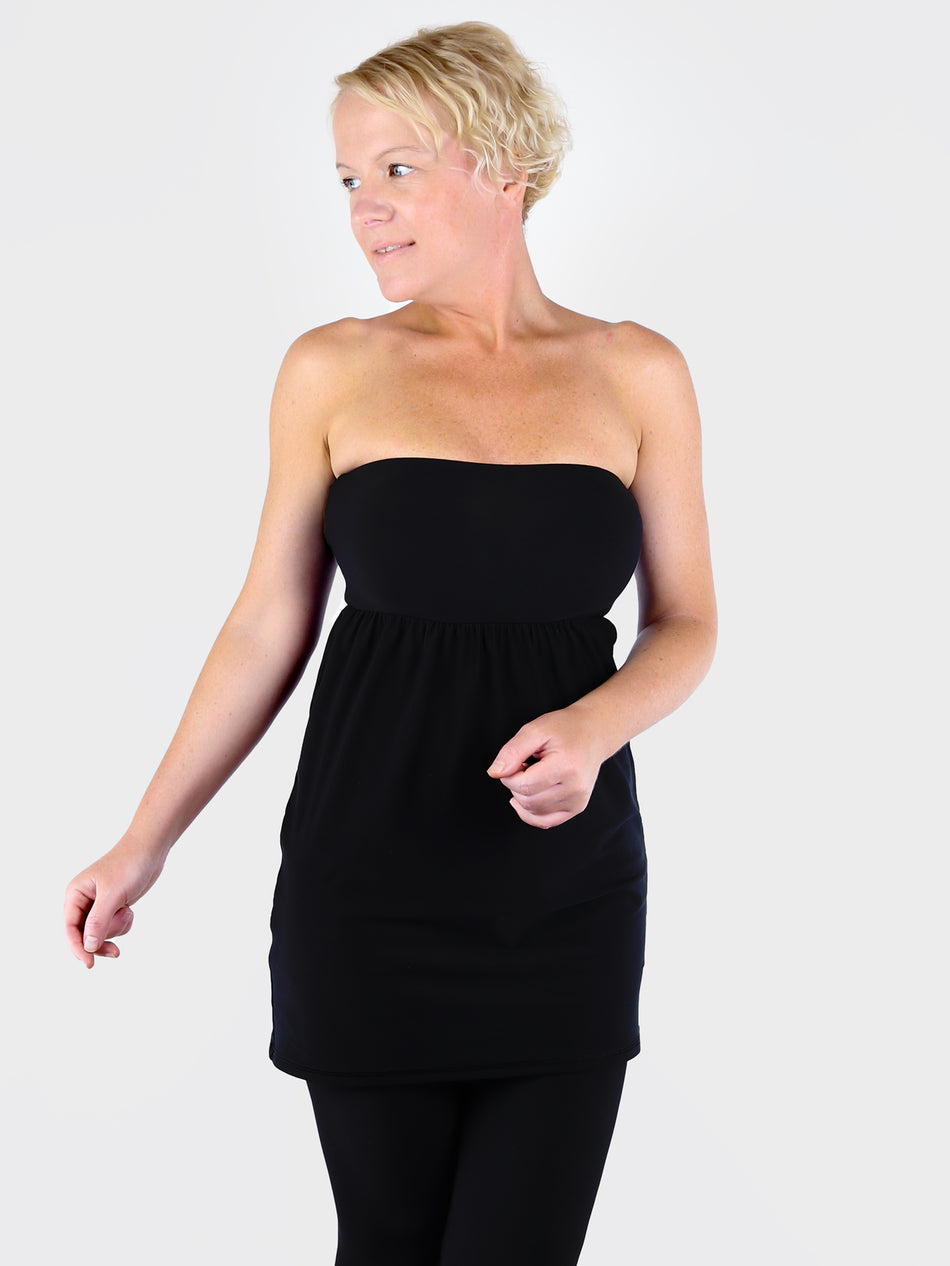 Strapless Sexy Black Bandeau Tunic Top with Empire Waist for Leggings - 3