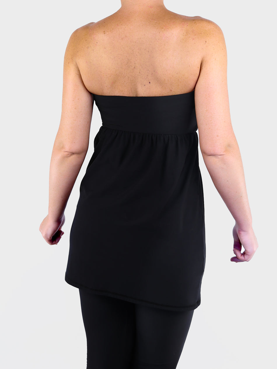 Strapless Sexy Black Bandeau Tunic Top with Empire Waist for Leggings - 5