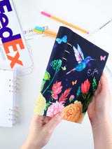 A5 Colorful Navy Personalized Refillable Floral Planner with Birds - 9
