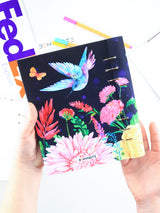 A5 Colorful Navy Personalized Refillable Floral Planner with Birds - 8