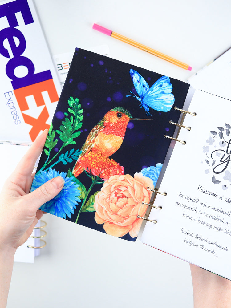 A5 Colorful Navy Personalized Refillable Floral Planner with Birds - 7