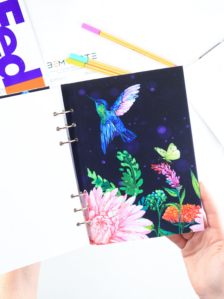 A5 Colorful Navy Personalized Refillable Floral Planner with Birds - 6