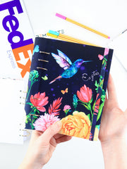 A5 Colorful Navy Personalized Refillable Floral Planner with Birds - 1