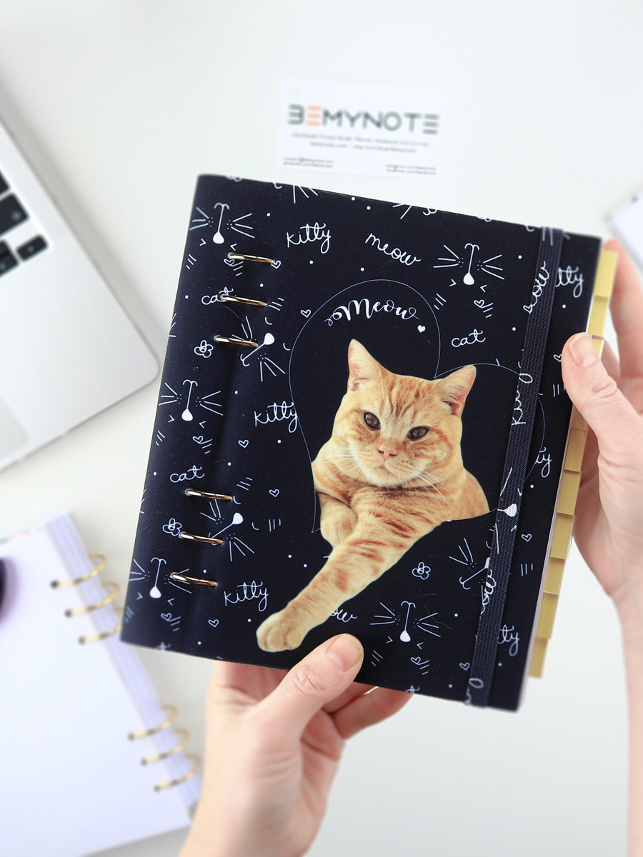 Custom Bullet Journal with Cat Photo - Personalized Ring Planner - 1