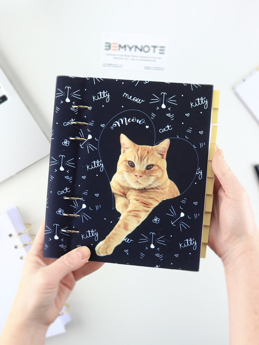 Custom Bullet Journal with Cat Photo - Personalized Ring Planner - 2