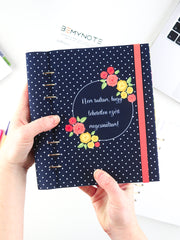 Custom Motivational Quote Ring Planner - A5 Navy Polka Dots Notebook - 1