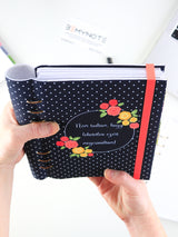 Custom Motivational Quote Ring Planner - A5 Navy Polka Dots Notebook - 9