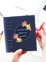 Custom Motivational Quote Ring Planner - A5 Navy Polka Dots Notebook - 6