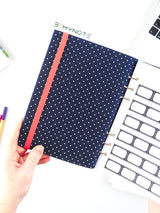 Custom Motivational Quote Ring Planner - A5 Navy Polka Dots Notebook - 5