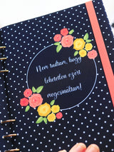 Custom Motivational Quote Ring Planner - A5 Navy Polka Dots Notebook - 2