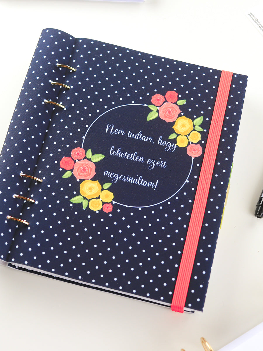 Custom Motivational Quote Ring Planner - A5 Navy Polka Dots Notebook - 4