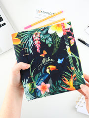 Custom Tropical Leaves Ring Planner - A5 Hawaii Binder Notebook - 1