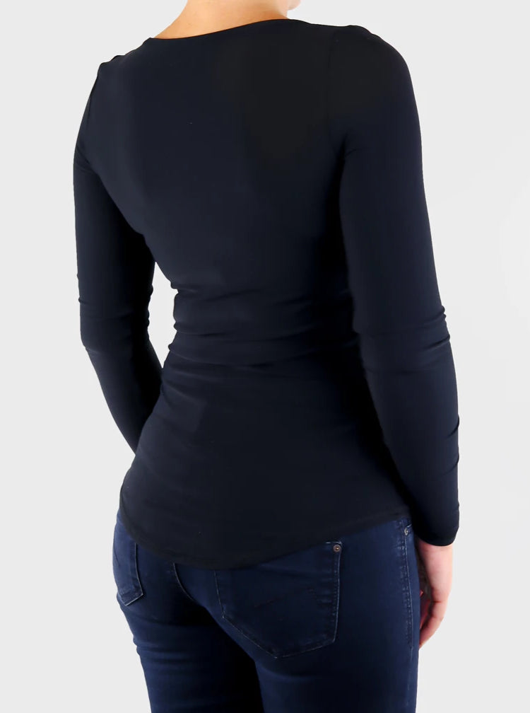Custom Slim Fit Sexy Women's Black and White Henley Top with Buttons - 7