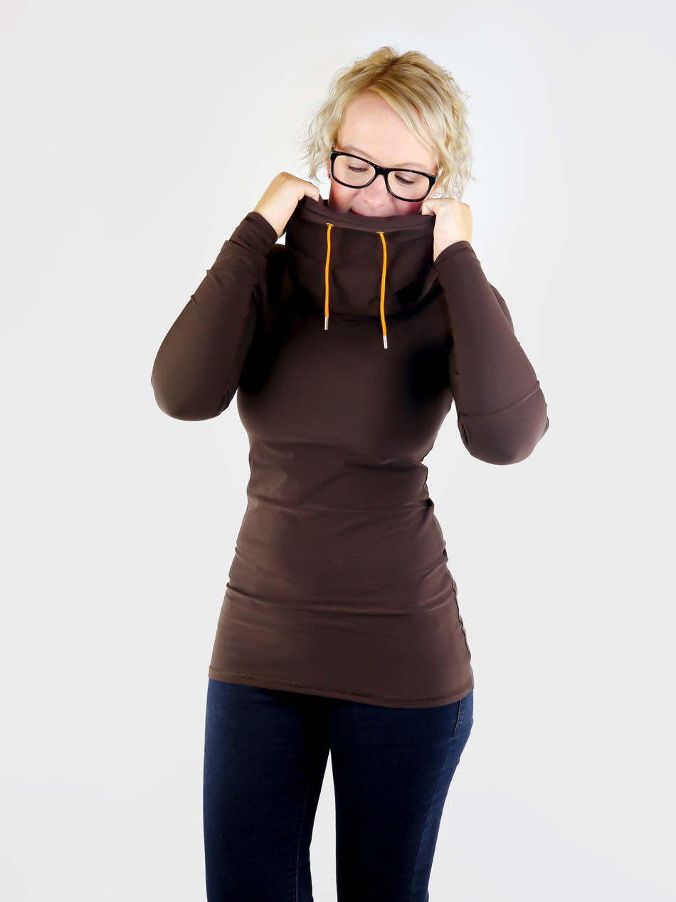 Designer Long Custom Brown Cowl Neck Shirt with Strings- 2
