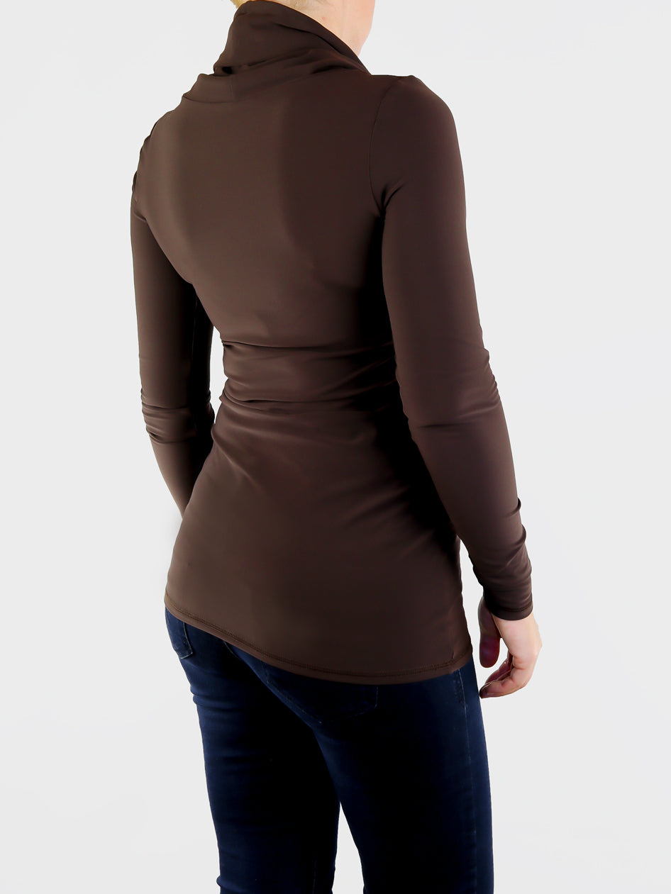 Designer Long Custom Brown Cowl Neck Shirt with Strings- 5