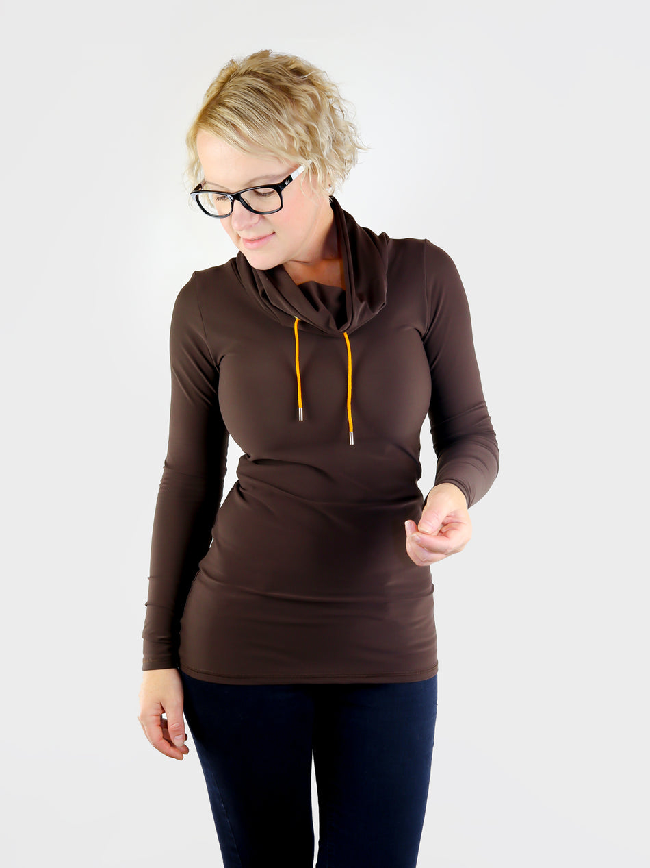 Designer Long Custom Brown Cowl Neck Shirt with Strings- 6