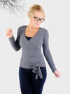 Custom Convertible Designer Tie Front Grey Wrap Top with Long Sleeve - 1