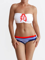 Nautical Style DD+ Anchor Custom Strapless White Swimwear - 1