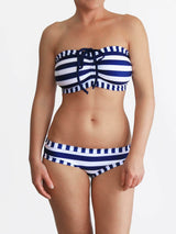 White and Navy Striped Anchor E Cup Handmade Bra Sized Bikini Set - 3