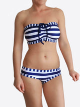 White and Navy Striped Anchor E Cup Handmade Bra Sized Bikini Set - 1