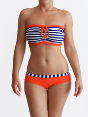 Designer Custom Bra Sized Anchor Striped Luxury Women's Swimwear- 1