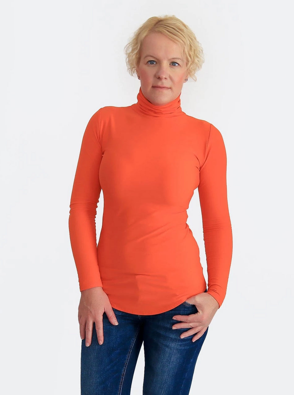 Basic Slim Fit Orange Turtleneck Shirt with Curvy Bottom - 5