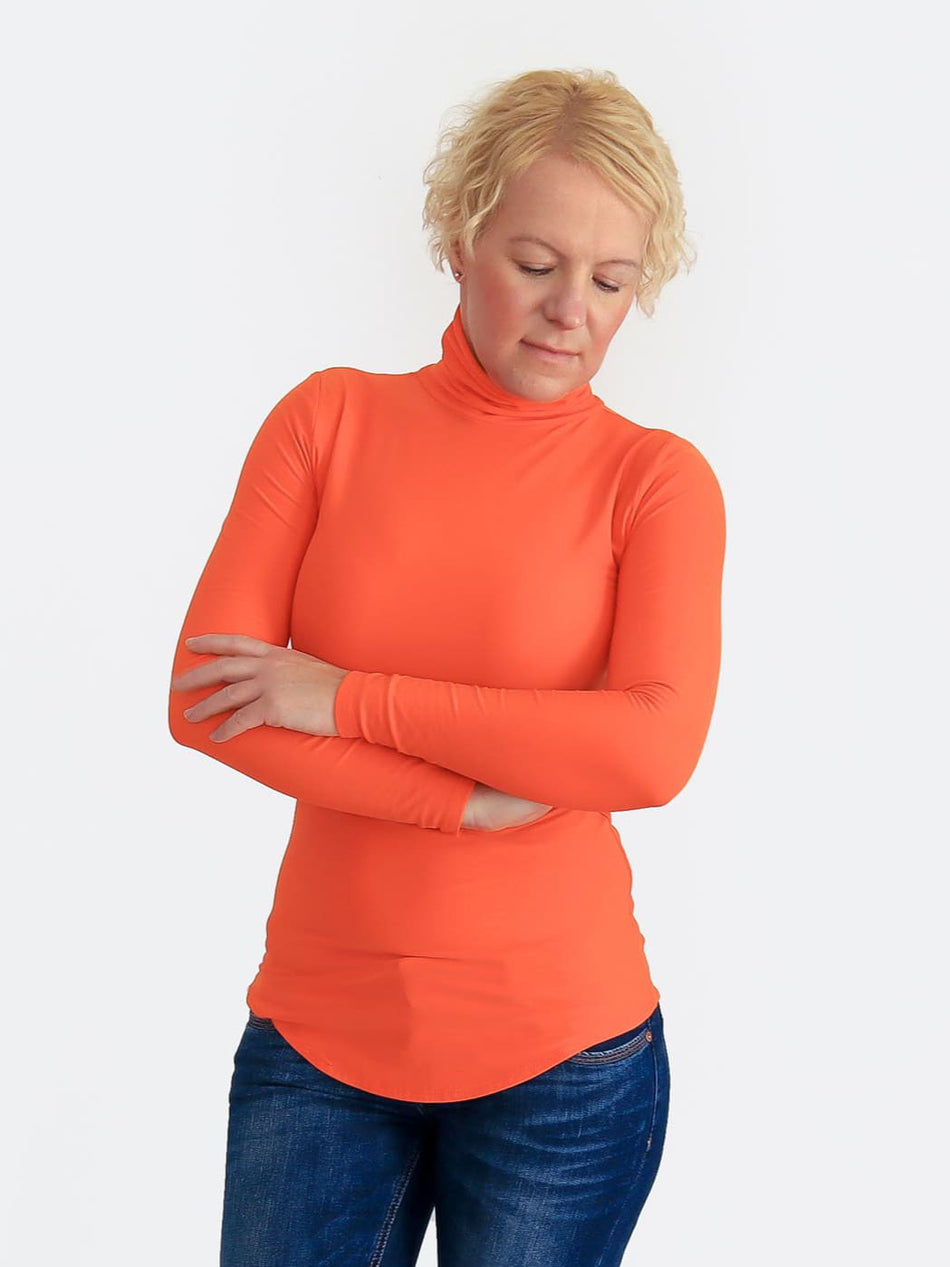 Basic Slim Fit Orange Turtleneck Shirt with Curvy Bottom - 1