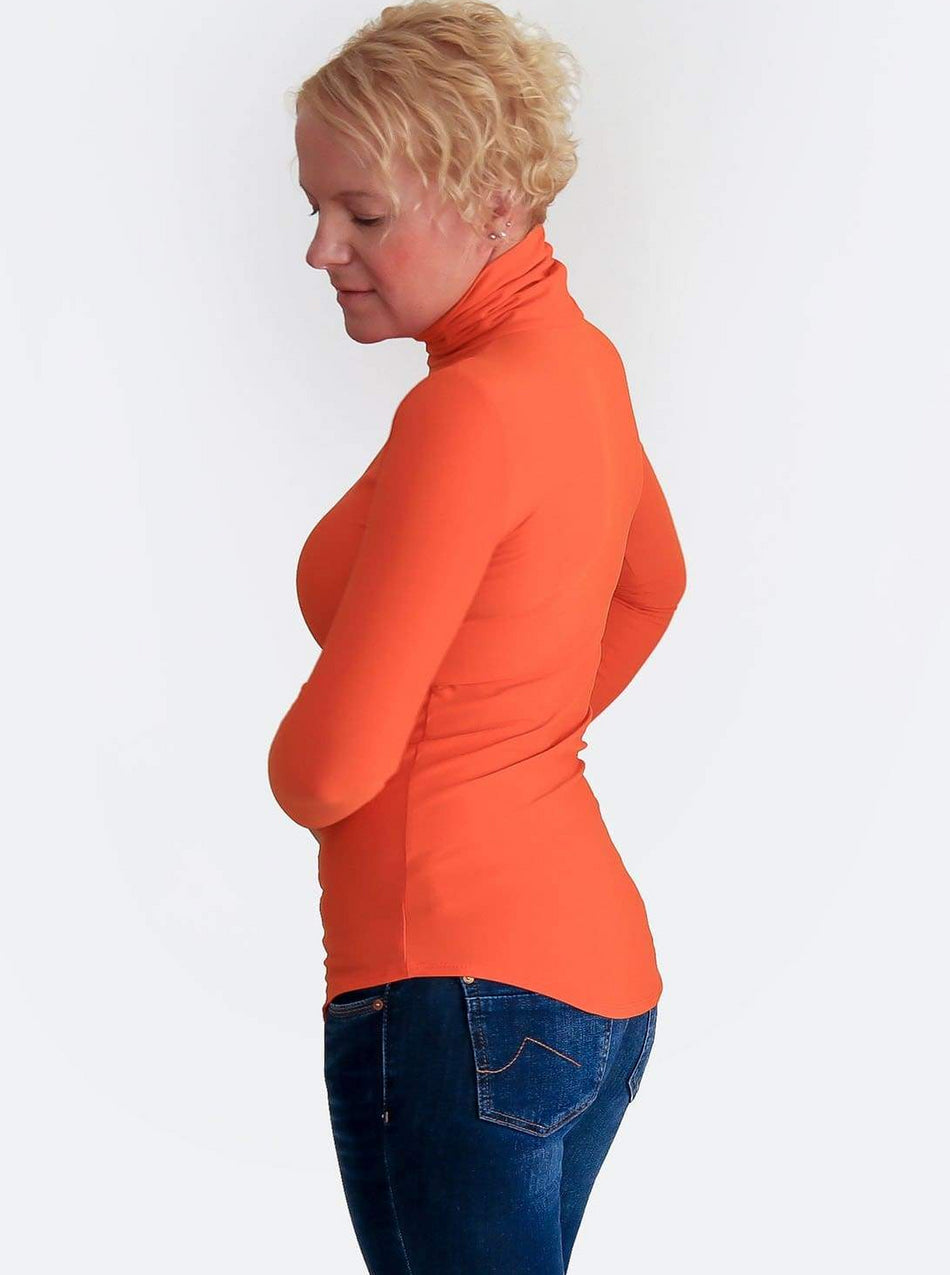 Basic Slim Fit Orange Turtleneck Shirt with Curvy Bottom - 6