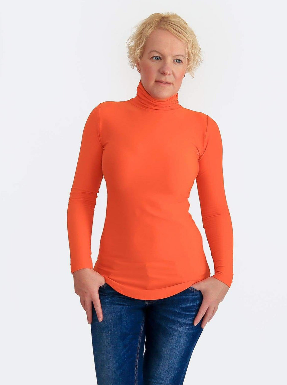 Basic Slim Fit Orange Turtleneck Shirt with Curvy Bottom - 3