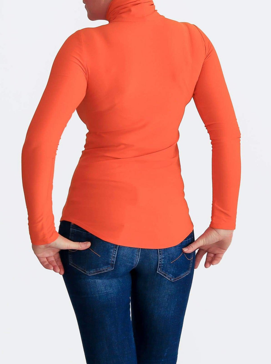 Basic Slim Fit Orange Turtleneck Shirt with Curvy Bottom - 4