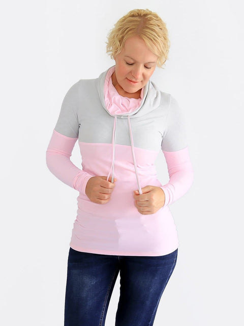 Custom Baby Pink Extra Long Cowl Neck Sweatshirt with String- 1
