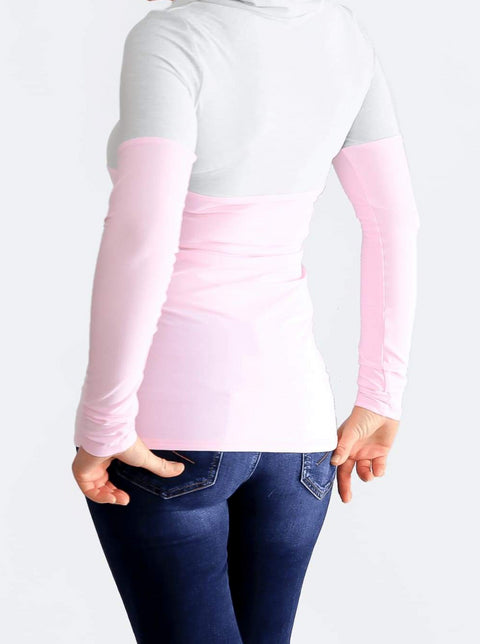Custom Baby Pink Extra Long Cowl Neck Sweatshirt with String- 8