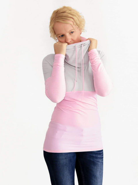 Custom Baby Pink Extra Long Cowl Neck Sweatshirt with String- 2