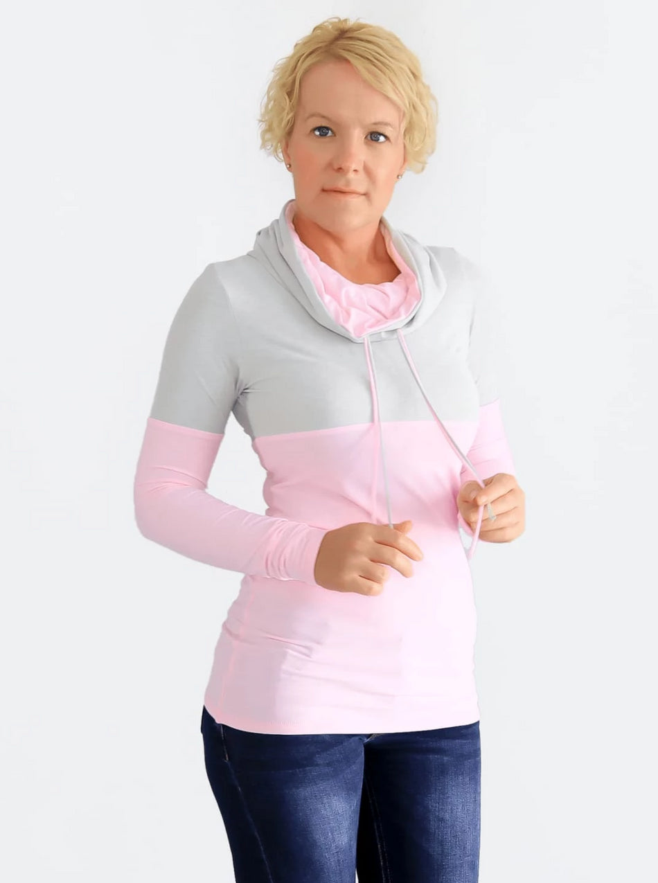 Custom Baby Pink Extra Long Cowl Neck Sweatshirt with String- 5