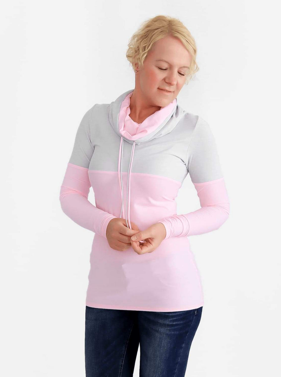 Custom Baby Pink Extra Long Cowl Neck Sweatshirt with String- 3