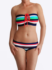 Multicolor Bandeau Supportive Striped Bathing Suits for Large Bust - 1