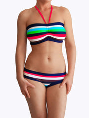 Multicolor Bandeau Supportive Striped Bathing Suits for Large Bust - 2