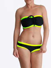 Custom Neon Best Black Bandeau Big Bust Swimwear with Neck Tie - 1