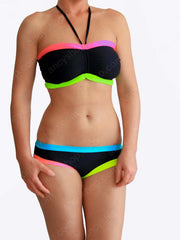 Designer Bandeau Plus Size Black DDD Colorful Unique Swimwear - 2
