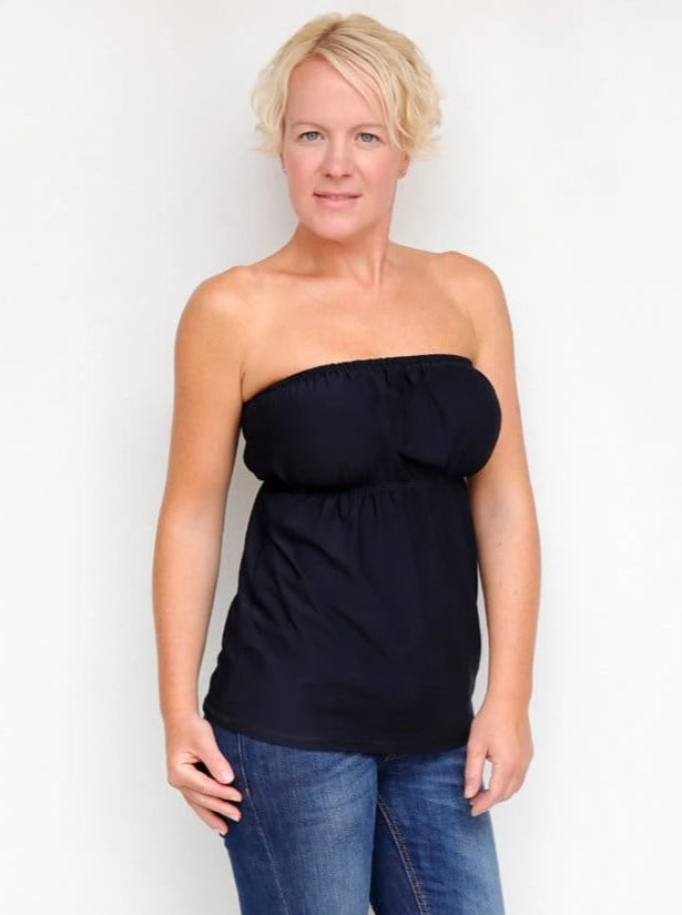 Summer Bandeau Black Strapless Ruffle Top with Empire Waist - 2