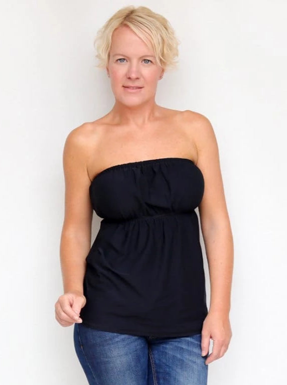 Summer Bandeau Black Strapless Ruffle Top with Empire Waist - 4