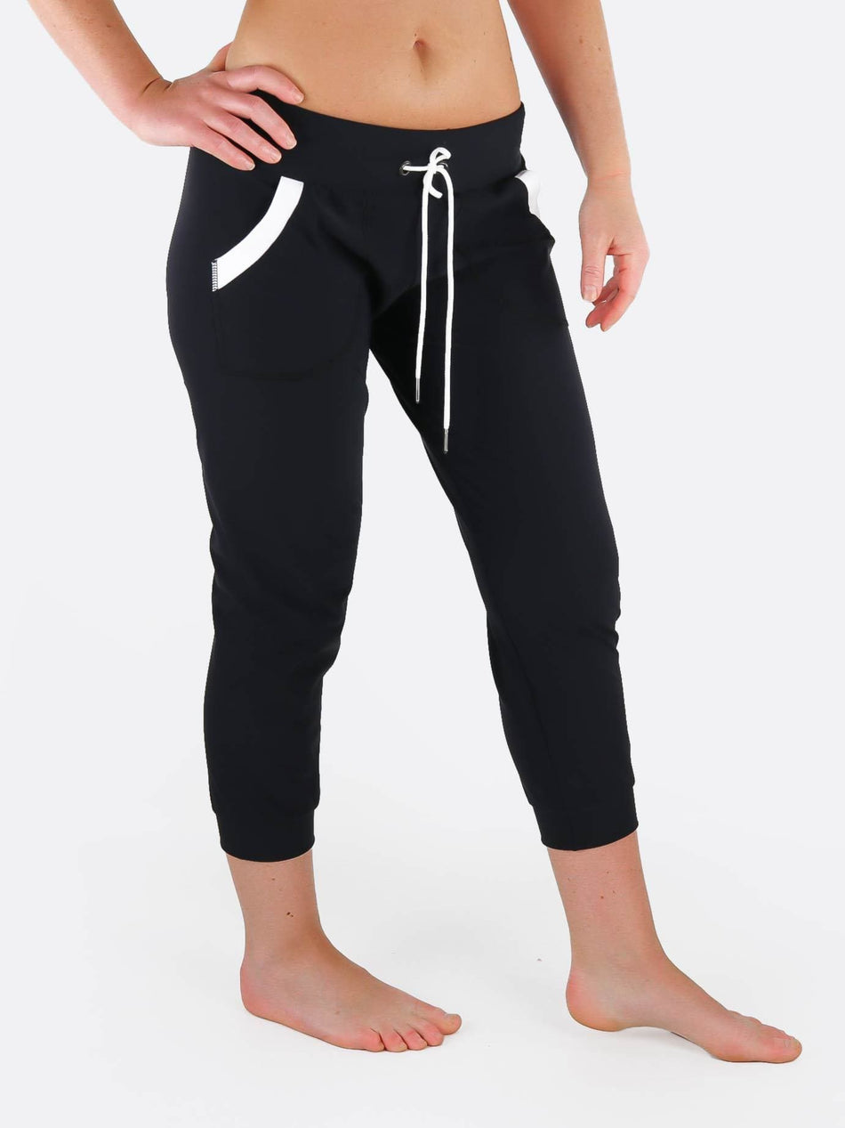 Black White Jogger Pants with Drawstring Waist - Custom Made - Jogger - 4